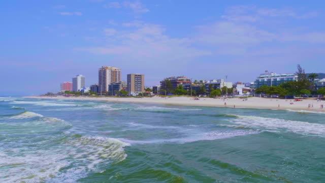 vídeos de stock e filmes b-roll de aerial view to barra beach, rio de janeiro, brazil - ponto de referência natural
