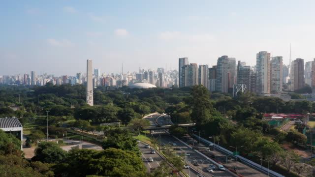 aerial view to may 23 avenue, close to ibirapuera area, sao paulo, brazil - international landmark stock videos & royalty-free footage