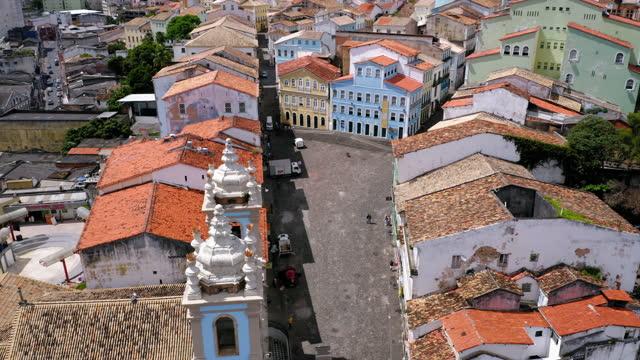 vídeos de stock, filmes e b-roll de vista aérea para salvador cidade centro, bahia, brasil - distrito