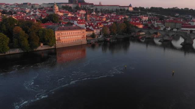 aerial view to vltava river and prague castle, prague - river vltava stock videos & royalty-free footage