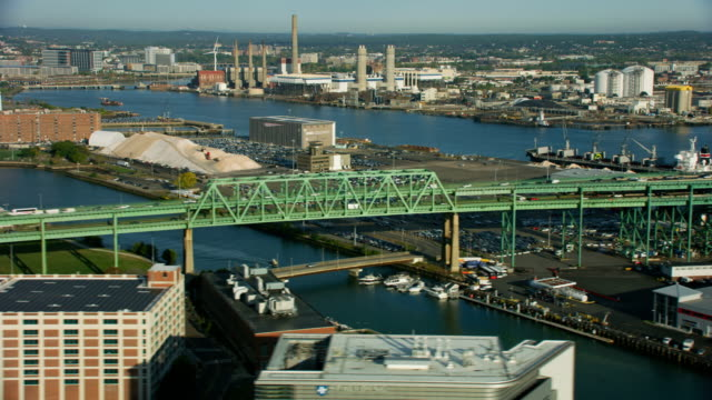 aerial view tobin memorial bridge boston massachusetts usa - massachusetts stock videos & royalty-free footage