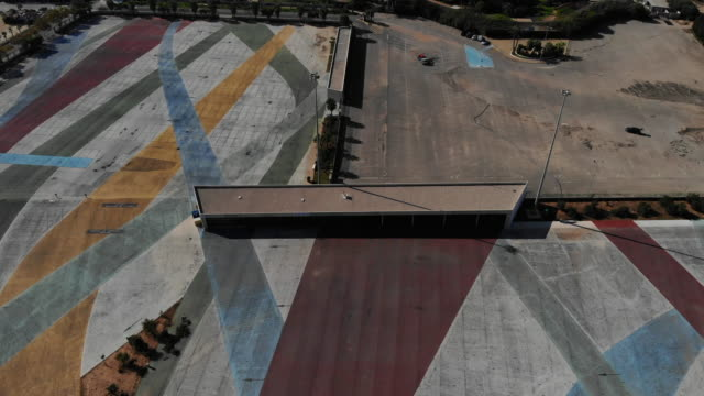 vídeos y material grabado en eventos de stock de aerial view torrevieja market parking, waterpark cityscape and mediterranean sea, spain - square