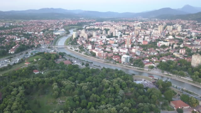 aerial view town of nis in serbia - serbia stock videos & royalty-free footage