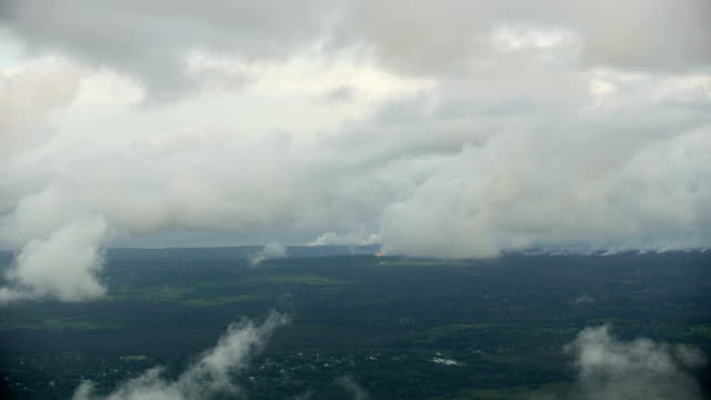 aerial view toxic smoke open fissures volcanic lava - kilauea stock videos & royalty-free footage