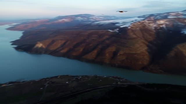 Aerial View, Tracking Shot of a Flying Vulture, Flying with Birds of Pray Along Beautiful Landscape of Fjords, Mountain hills Rising Up from the Water Surface, Seascape, Beauty in Nature, Travel Destinations, Adventure, Travel, Exploration, Sun