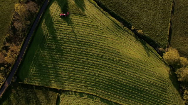 aerial view tractor & mown fields at sunset - vignette stock videos & royalty-free footage