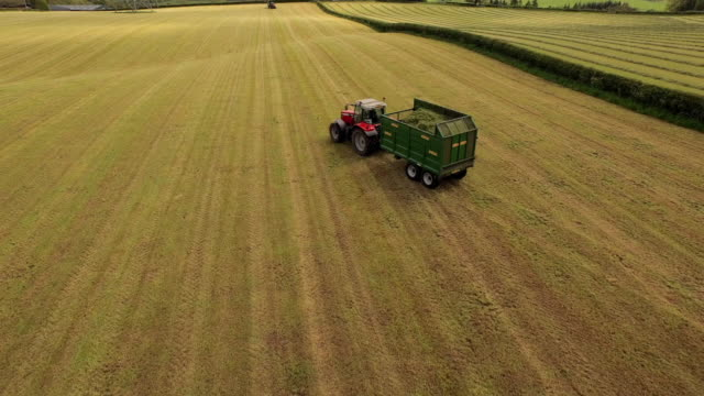 aerial view tractors pulling full & empty trailers in field - stabilimento sportivo video stock e b–roll