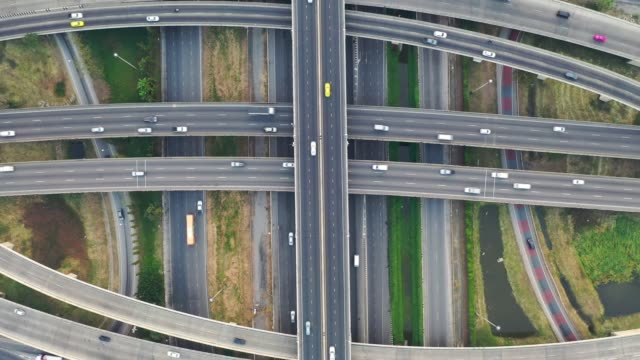 Aerial view traffic on highway
