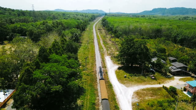 Aerial View : Train on the railway