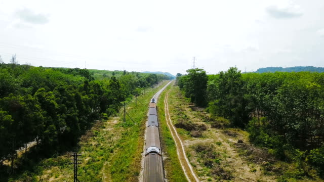 aerial view : train on the railway - passenger train stock videos and b-roll footage