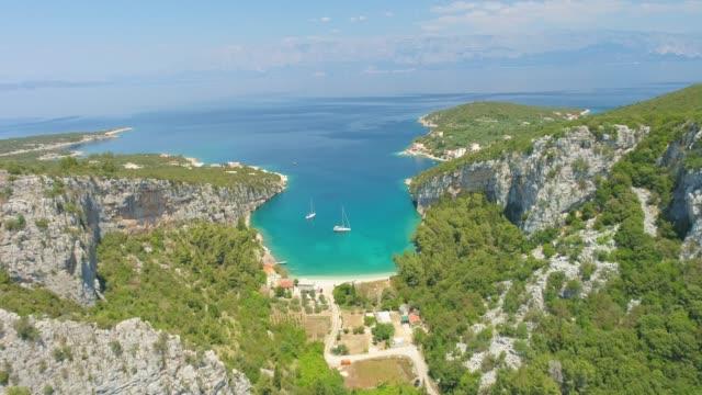 WS Aerial view tranquil sunny island bay,Hvar,Croatia