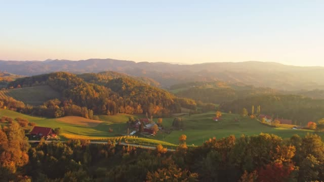 WS Aerial view tranquil,idyllic rolling autumn landscape,Slovenia