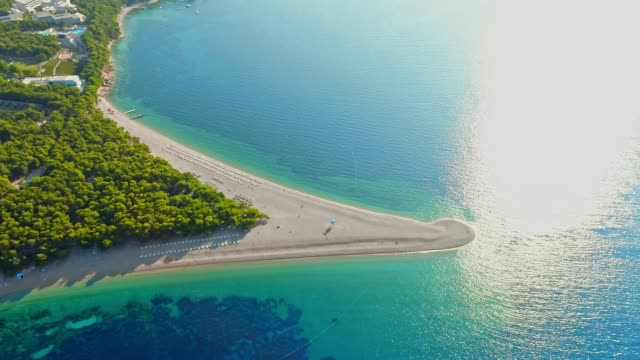 aerial view tranquil,sunny scenic view beach and blue ocean,bol- zlatni rat,island of brac,croatia - croatia stock videos & royalty-free footage