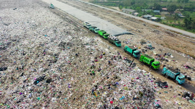 aerial view truck operation - garbage truck stock videos & royalty-free footage