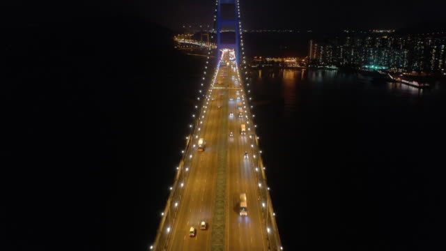 aerial view tsing ma bridge transportation - suspension bridge stock videos & royalty-free footage
