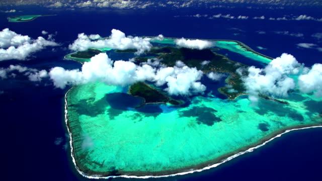 aerial view tupai and bora bora south pacific - polynesian ethnicity stock videos & royalty-free footage
