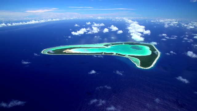 Aerial view Tupai coral atoll reef South Pacific