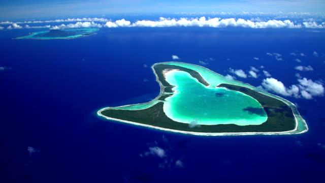 Aerial view Tupai Heart Island and Bora Bora
