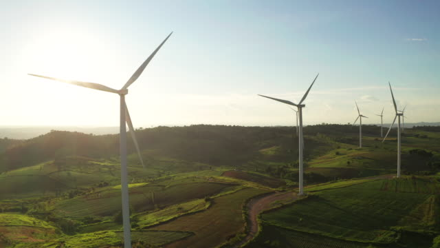 aerial view turbine on the day light - wind stock videos & royalty-free footage