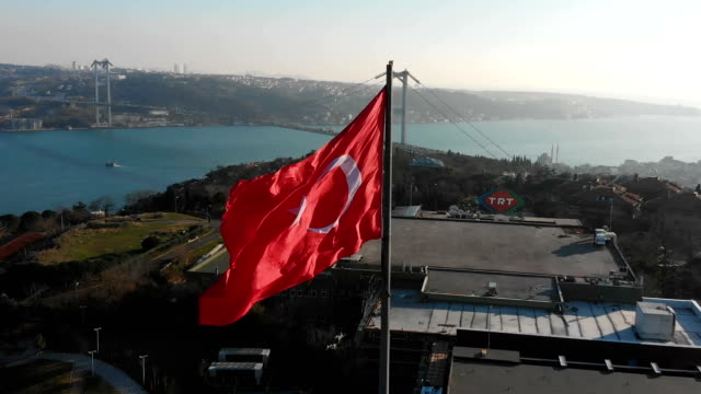 aerial view turkish flag istanbul 4k - bosphorus stock videos & royalty-free footage
