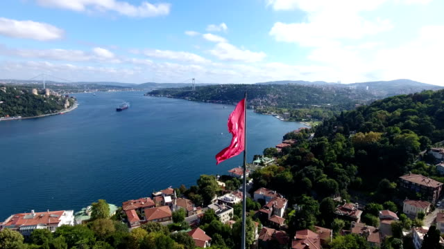 aerial view turkish flag istanbul 4k - beverly hills california stock videos & royalty-free footage