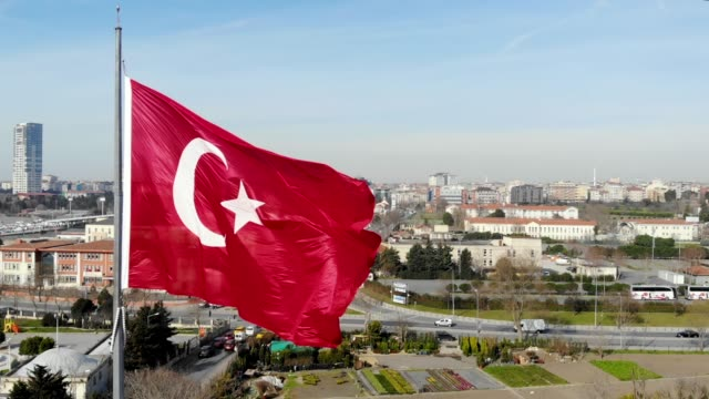 aerial view turkish flag istanbul - ozgurdonmaz stock videos and b-roll footage