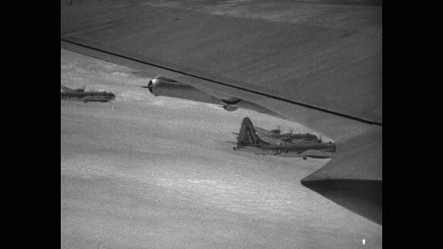 aerial view us air force b-29 bombers flying in sky, korean war - aircraft point of view stock videos & royalty-free footage