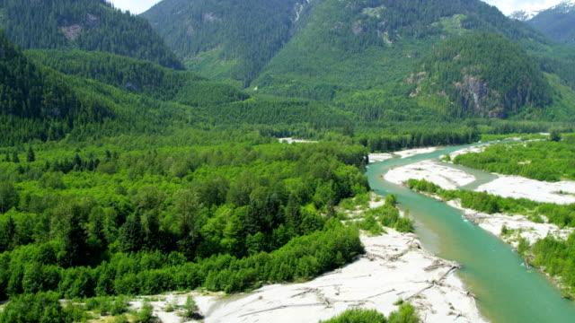 Aerial view valley wilderness area Fraser River Canada