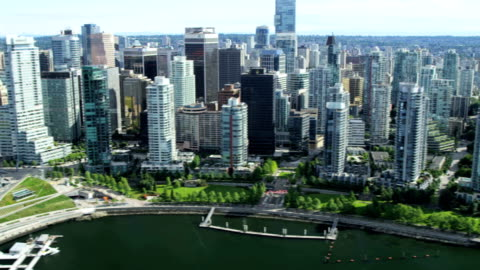 aerial view vancouver city harbour downtown skyscrapers canada - canada stock videos & royalty-free footage