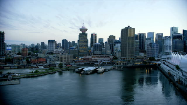 aerial view vancouver harbour british columbia canada - waterfront stock videos & royalty-free footage