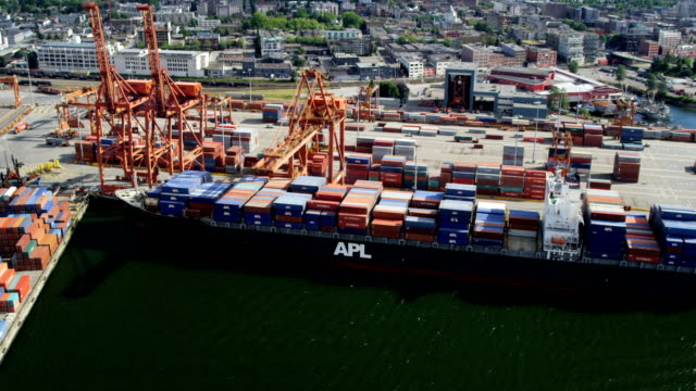Aerial view Vancouver Harbour container port and dockside