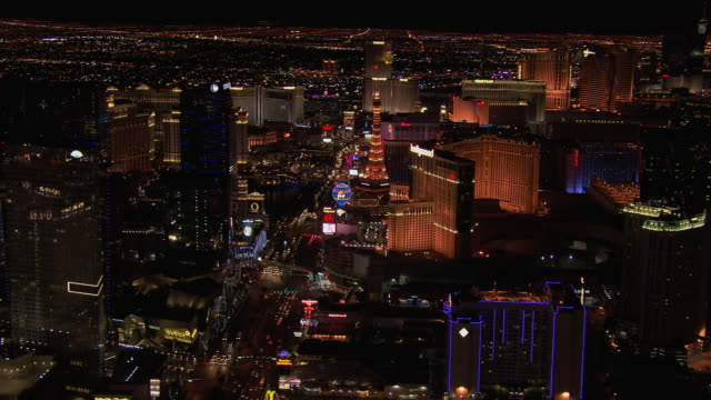 aerial view vegas boulevard and resorts and casinos at night, nevada, united states of america. - the palazzo las vegas stock videos & royalty-free footage
