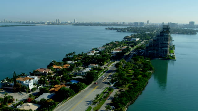 aerial view venetian causeway waterfront property miami beach - biscayne bay stock videos & royalty-free footage