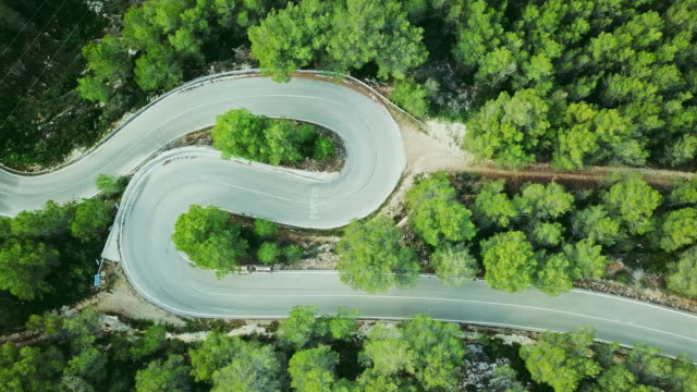 Aerial view video of a two lane winding road in a forest