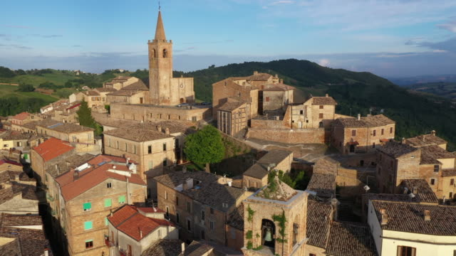 aerial view view of a beautiful old town in italy - marche region - italian culture stock videos & royalty-free footage