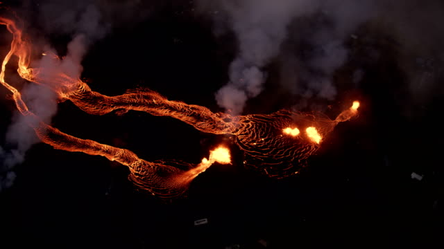 aerial view volcanic fissures pouring out lava liquid - tectonic stock videos & royalty-free footage