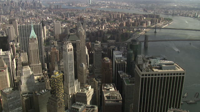 aerial view wall street  - financial district , new york, usa - wall street lower manhattan stock videos & royalty-free footage