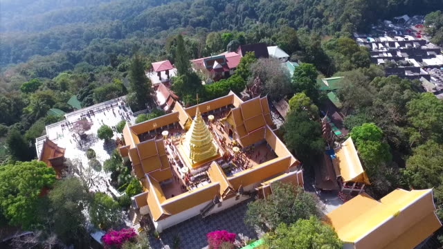 aerial view wat phra that doi suthep in chiang mai, thailand - chiang mai province stock videos & royalty-free footage