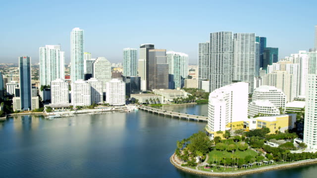 aerial view waterfront luxury condominiums biscayne bay miami - biscayne bay stock videos and b-roll footage
