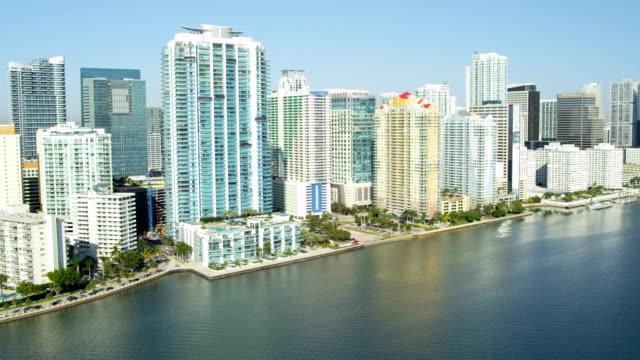 Aerial view waterfront luxury condominiums Biscayne Bay Miami