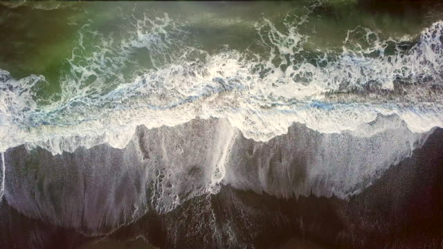 aerial view waves on the beach - western usa stock videos & royalty-free footage