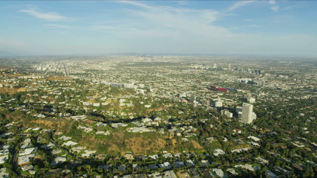 aerial view west hollywood city homes los angeles - west hollywood stock videos & royalty-free footage