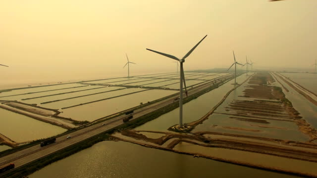 Aerial View Wind Turbines