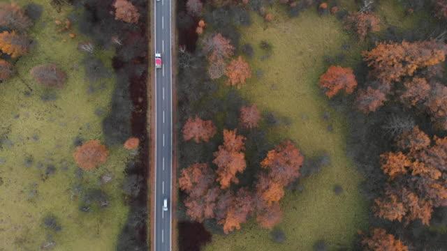 秋、日光の戦場ヶ原湿原にて風光明媚なルートの前方にドリーの空撮。