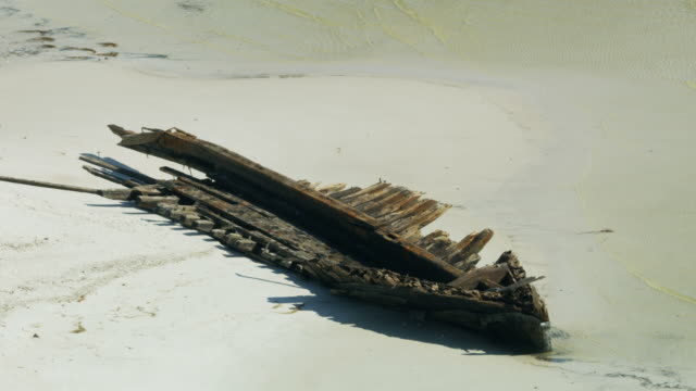 aerial view wooden ship wrecked by hurricane carrabelle - 1899 stock videos & royalty-free footage