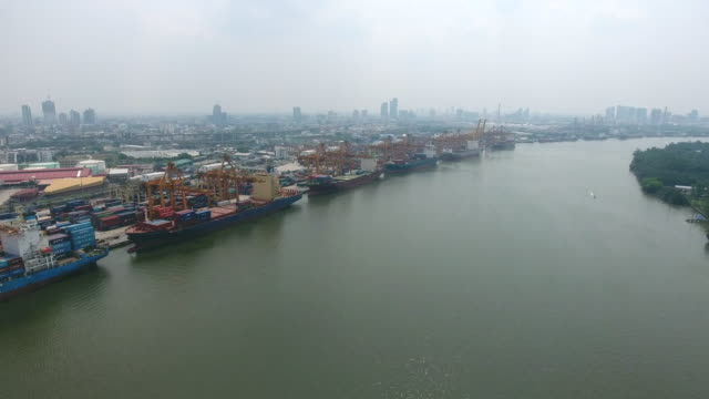 Aerial View, Working Crane and Container Ship in the Harbor, International Cargo Port