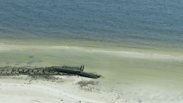 aerial view wrecked ship sunk 1899 hurricane florida - 1899 stock videos & royalty-free footage
