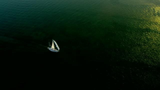 Aerial view yacht tropical Caribbean lagoon waters Florida