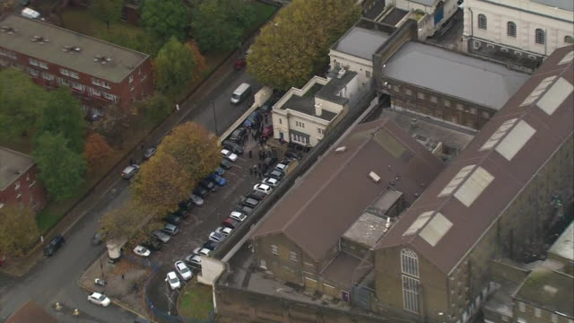 aerial view zooming in on industrial action taking place outside pentonville prison - strike industrial action stock videos & royalty-free footage