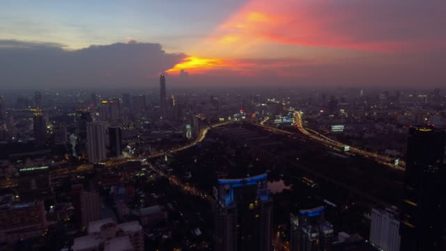 aerial view:bangkok business center at night - twilight stock videos & royalty-free footage